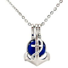 """K656 Anchor Beads Pearl Cage Locket Pendant Necklace 18"""" Stainless Steel Chain"""