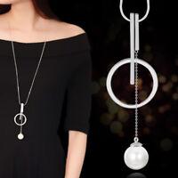 HK- Women Fashion Pearl Circle Bar Pendant Long Chain Necklace Jewelry Gift Util