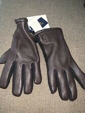 NWT Men's Polo Ralph Lauren 3M Leather/Wool Brown Hybrid Touch-Screen Gloves $68