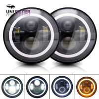 DOT 2Pcs Halo Ring 7 Inch Black Round Hi/Lo LED Headlights Fit Jeep Wrangler JK