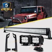 """52"""" LED Light Bar Combo 4"""" Pods A Pillar Roof Bracket For Jeep Wrangler JK 07-18"""