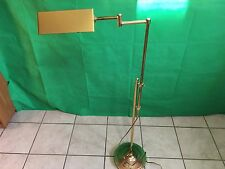 Vtg Mid Century Modern Alsy Brass Adjustable Library Floor Lamp Triangle Shade