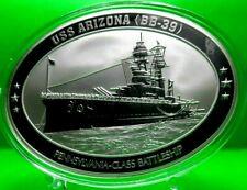 USS ARIZONA OVAL COMMEMORATIVE COIN PROOF MILITARY VALUE $129.95