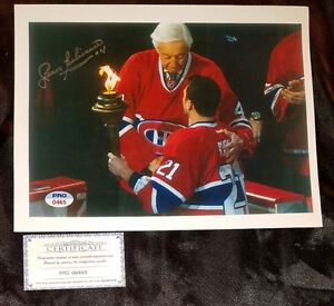 JEAN BELIVEAU HOF HAND SIGNED MONTREAL CANADIANS RARE PHOTO PASSING TORCH 8.5×11