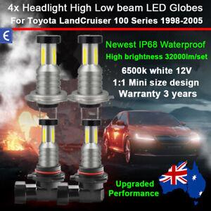 4x 360° Headlight Globe High Low BeamFor Toyota LandCruiser 100 Series 1998-2005