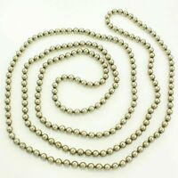 """Vintage HEAVY BALL CHAIN NECKLACE 59"""" Long Silver-tone 6.3mm Beads"""