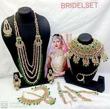 Kundan Pearl Gold Tone Choker Wedding Necklace 10 Pcs Bollywood Jewelry Combo