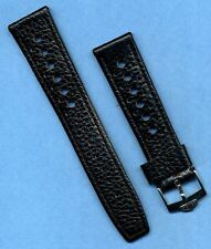 PRE TAG HEUER BUCKLE & 22mm GENUINE LEATHER RALLY BLACK RACING STRAP BAND