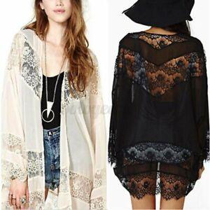 Women Summer Lace Floral Crochet Batwing Sleeve Kimono Tops Cardigan Coat Jacket