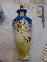 ancien pied de lampe en céramique décor japonisant très coloré électrifié