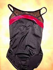 NWT Body Wrappers Black Mesh Pink Camisole Leotard Ladies Medium # 7533