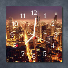 Glass Wall Clock Kitchen Clocks 30x30 cm silent Skyline Yellow