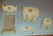 Vintage Miniature Doll Painted Wooden Dollhouse Bed Bedroom Furniture Lot