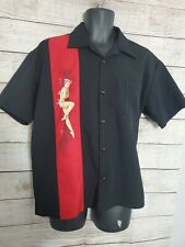 Steady Last Call Bowling Shirt Pinup Girl Black Red USA Rockabilly - Mens M (A2)