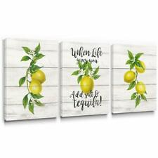 Inspirational Lemon Canvas Wall Art for Dining Room Kitchen Decor 12x16 in 3pcs