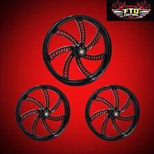 "Harley Davidson Trike FLHXXX Custom Wheels ""Slapshot"" Blackout Series"
