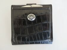 Brighton Bi Fold Wallet Clutch Croc Embossed Black Leather   #7212