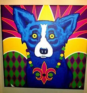 Not Framed Canvas Print  Home Decor Blue dog 8X8 Mardi Dog Print on Canvas