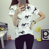 Fashion Casual T Shirt Short Sleeve Tops Women Animal Printed Shirt Blouse S-XL
