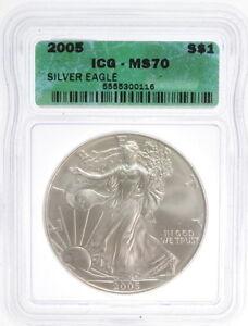 2005 $1 American Liberty Silver Eagle 1 Oz Fine US Mint Coin ICG MS 70