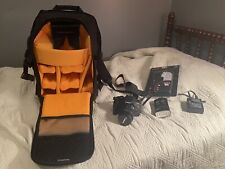 Canon EOS Rebel T3i with SLR Suspension Backpack & Zeus soft box flash diffuser