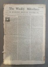 1733 Newspaper - The Weekly Miscellany