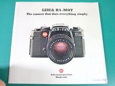LEITZ LEICA R4 MOT Appareil photo... fait tout simplement brochure anglais 1980 54pp