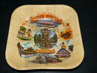 """Vintage Silver Springs Jungle Cruise Souvenir Woven Bamboo Tray 11"""" X 11"""" EXCDN"""