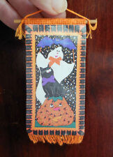 DOLLHOUSE MINIATURE ~ HALLOWEEN GHOST ~ BLACK CAT BANNER