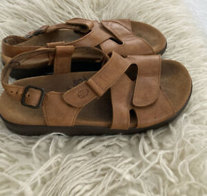 SAS Brown Leather Slides Comfort Sandals Shoes Women's Size 9M