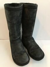 UGG Australia 1890 Kenly Winter Tall Mid Calf Suede Sheepskin Boots Sz 6 Black