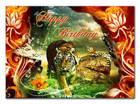 c076; Large Personalised Birthday card; Custom made for any name; Tiger