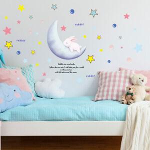 Cartoon Sleeping Rabbit Moon Star Wall Sticker Baby Nursery Room Art Decal Gift