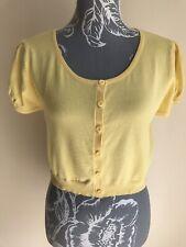 Papaya Womens Cropped Cardigan Size 14 Light Yellow Short Sleeved Cotton Blend