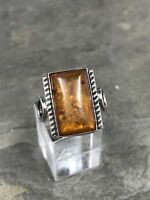 Sz 7.5, Orangle Amber Cabochon Sterling Silver Solitaire Ring, Stamped 925