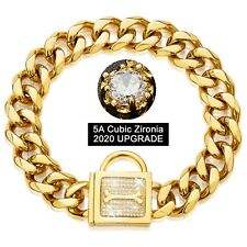 Thick Gold Dog Chain Collar with Zirconia Locking for Small Medium Large Dogs