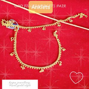 22k ANKLETS TRADITIONAL UNIQUE INDIAN GOLD-PLATED ANKLET BRACELET PAYAL  KAPA
