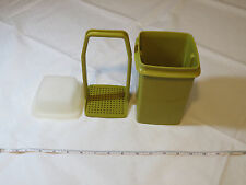 Tupperware Vintage 1330-12 avacado green pickle keeper container with lid & inse