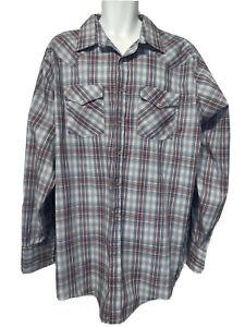 western frontier plaid button front Long Sleeve shirt size XXLT