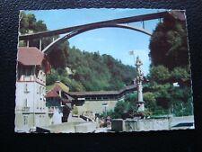 SWITZERLAND - postcard 1963 fribourg (fountain fidelity/bridge gottéron) (B9)