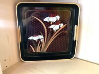 """Vintage Square Japanese Black Lacquer Tray """"Grand Iris"""" Gold rim Wrapped Handles"""