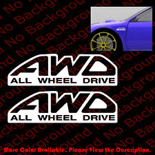 1 Pair x AWD ALL WHEEL DRIVE Racing Vinyl Decal Car Window Subie WRX RC025