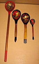 Russian Khokhloma Painted Wooden Spoons Set of 4