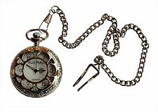 "Mens Pocket Watch. Antique Design with Silver Coloured 14"" chain and clip."