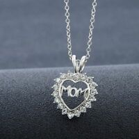 Gift Fine Jewelry Mother's Mom Letter Heart Pendant Crystal Necklace