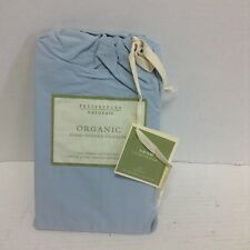 Pottery Barn Organic Cotton Hemstitch Bed Euro pillow cover case Sham Fog Blue