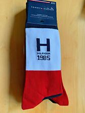 TOMMY HILFIGER Men's 4-pack Dress Socks, Red / Blue / White, UK 6.5-11