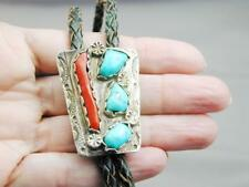 Stunning Vintage Zuni Sterling Coral & Turquoise Bolo Tie