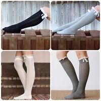 Stylish Women Warm Leg Warmer Lace Trim Button Knit Knee High Crochet Boot Socks