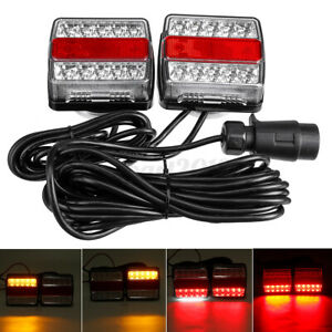 2pcs 7 Pin Magnetic 15 LED Trailer Towing Lightboard Light Rear Tail Board Lamp